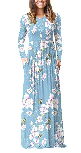 HAOMEILI Women's Casual Long/Short Sleeve Maxi Dress with Pockets 1