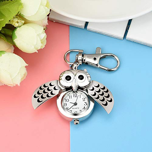 HOOUDO Clearance Watches for Womens Sale Cheap Analog Quartz Stainless Steel Gorgeous Owl Watch Clip Pocket Watch Gifts… 3