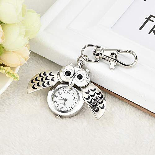 HOOUDO Clearance Watches for Womens Sale Cheap Analog Quartz Stainless Steel Gorgeous Owl Watch Clip Pocket Watch Gifts… 4