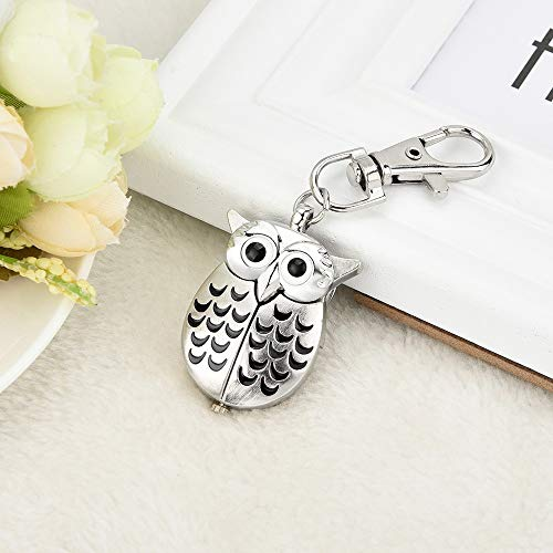 HOOUDO Clearance Watches for Womens Sale Cheap Analog Quartz Stainless Steel Gorgeous Owl Watch Clip Pocket Watch Gifts… 5