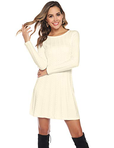 Hawiton Women's Jumper Dress Cable Twist Long Sleeve A-line Knitted Dress Sweater Dress Long Pullover for Winter 3