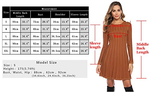 Hawiton Women's Jumper Dress Cable Twist Long Sleeve A-line Knitted Dress Sweater Dress Long Pullover for Winter 4
