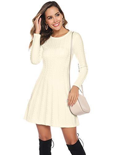 Hawiton Women's Jumper Dress Cable Twist Long Sleeve A-line Knitted Dress Sweater Dress Long Pullover for Winter 6