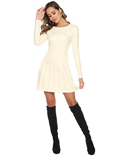 Hawiton Women's Jumper Dress Cable Twist Long Sleeve A-line Knitted Dress Sweater Dress Long Pullover for Winter 7