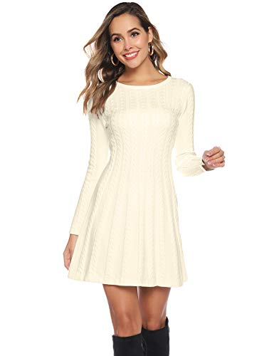 Hawiton Women's Jumper Dress Cable Twist Long Sleeve A-line Knitted Dress Sweater Dress Long Pullover for Winter 1