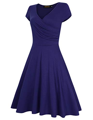 HiQueen Women V-Neck A-Line Fit Flare Swing Party Dress 3