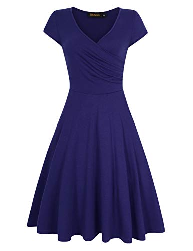 HiQueen Women V-Neck A-Line Fit Flare Swing Party Dress 1