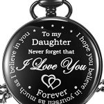 Inspirational Gift to My Daughter Never Forget That I Love You Steel Pocket Watch, Personalized Daughter Gift from Mom… 17