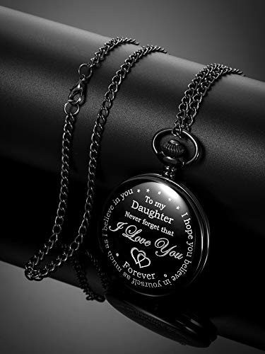 Inspirational Gift to My Daughter Never Forget That I Love You Steel Pocket Watch, Personalized Daughter Gift from Mom… 7