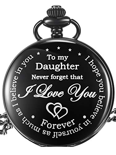 Inspirational Gift to My Daughter Never Forget That I Love You Steel Pocket Watch, Personalized Daughter Gift from Mom… 1