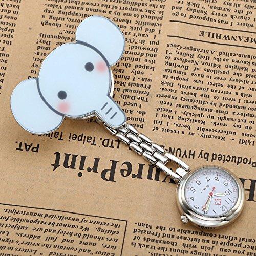 JSDDE Nurses Fashion Coloured Quartz Clip-on Fob Brooch Hanging Pocket Watches - Cute Animal 3