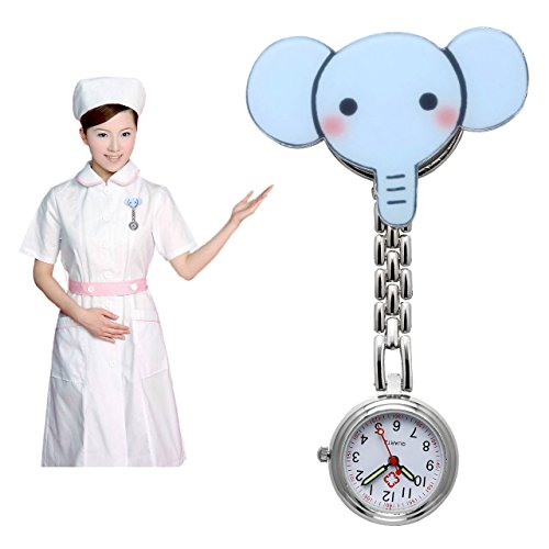 JSDDE Nurses Fashion Coloured Quartz Clip-on Fob Brooch Hanging Pocket Watches - Cute Animal 6