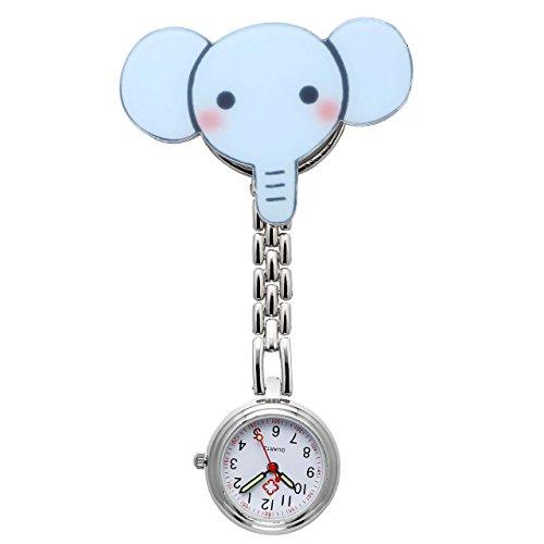 JSDDE Nurses Fashion Coloured Quartz Clip-on Fob Brooch Hanging Pocket Watches - Cute Animal 1
