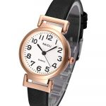 JSDDE Women's Classical Arabic Numerals Rose Gold Tone Analog Quartz Wrist Watch with PU Leather Strap 18