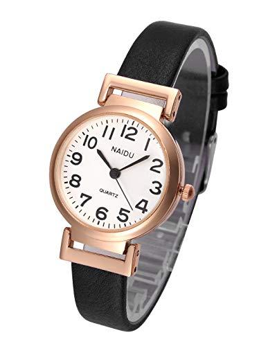 JSDDE Women's Classical Arabic Numerals Rose Gold Tone Analog Quartz Wrist Watch with PU Leather Strap 3
