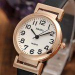 JSDDE Women's Classical Arabic Numerals Rose Gold Tone Analog Quartz Wrist Watch with PU Leather Strap 19