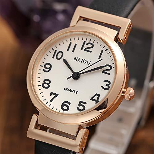 JSDDE Women's Classical Arabic Numerals Rose Gold Tone Analog Quartz Wrist Watch with PU Leather Strap 4