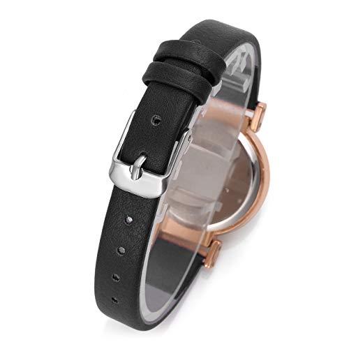 JSDDE Women's Classical Arabic Numerals Rose Gold Tone Analog Quartz Wrist Watch with PU Leather Strap 5
