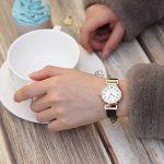 JSDDE Women's Classical Arabic Numerals Rose Gold Tone Analog Quartz Wrist Watch with PU Leather Strap 21