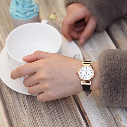 JSDDE Women's Classical Arabic Numerals Rose Gold Tone Analog Quartz Wrist Watch with PU Leather Strap 6