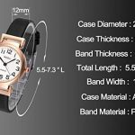 JSDDE Women's Classical Arabic Numerals Rose Gold Tone Analog Quartz Wrist Watch with PU Leather Strap 22