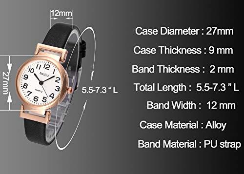 JSDDE Women's Classical Arabic Numerals Rose Gold Tone Analog Quartz Wrist Watch with PU Leather Strap 7