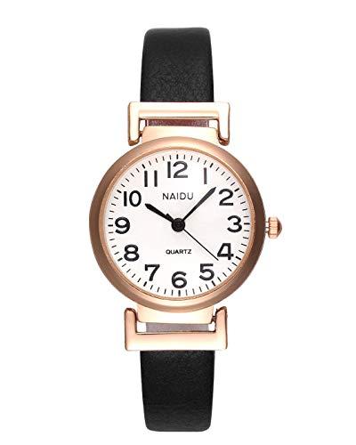 JSDDE Women's Classical Arabic Numerals Rose Gold Tone Analog Quartz Wrist Watch with PU Leather Strap 1