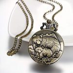 """JewelryWe Men Pocket Watch Classic Vintage Pendant Watch """"to My Son"""" Watch Gift for Father Mother Son Necklace Watch with Chain 21"""