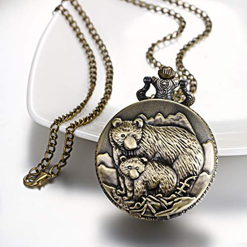"""JewelryWe Men Pocket Watch Classic Vintage Pendant Watch """"to My Son"""" Watch Gift for Father Mother Son Necklace Watch with Chain 6"""