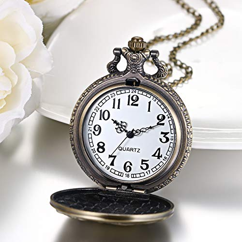 """JewelryWe Men Pocket Watch Classic Vintage Pendant Watch """"to My Son"""" Watch Gift for Father Mother Son Necklace Watch with Chain 8"""