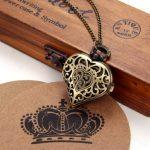 JewelryWe Vintage Pocket Watch,Heart Locket Style Pendant Pocket Watch Necklace for Girls Lady Women 18