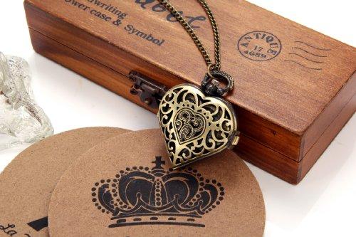 JewelryWe Vintage Pocket Watch,Heart Locket Style Pendant Pocket Watch Necklace for Girls Lady Women 4