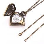 JewelryWe Vintage Pocket Watch,Heart Locket Style Pendant Pocket Watch Necklace for Girls Lady Women 19
