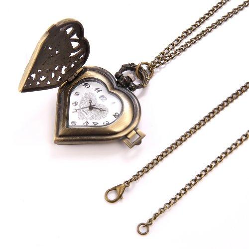 JewelryWe Vintage Pocket Watch,Heart Locket Style Pendant Pocket Watch Necklace for Girls Lady Women 5