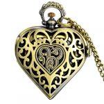 JewelryWe Vintage Pocket Watch,Heart Locket Style Pendant Pocket Watch Necklace for Girls Lady Women 17