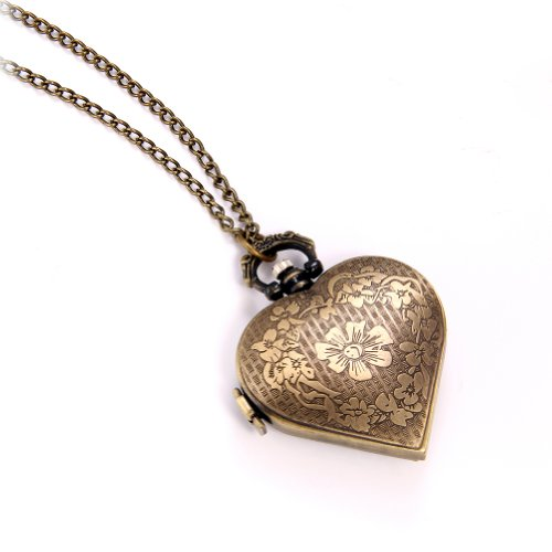 JewelryWe Vintage Pocket Watch,Heart Locket Style Pendant Pocket Watch Necklace for Girls Lady Women 6