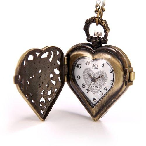 JewelryWe Vintage Pocket Watch,Heart Locket Style Pendant Pocket Watch Necklace for Girls Lady Women 7