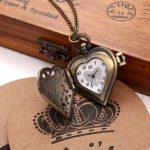 JewelryWe Vintage Pocket Watch,Heart Locket Style Pendant Pocket Watch Necklace for Girls Lady Women 22