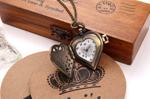 JewelryWe Vintage Pocket Watch,Heart Locket Style Pendant Pocket Watch Necklace for Girls Lady Women 8