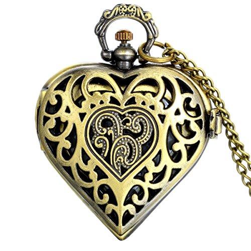 JewelryWe Vintage Pocket Watch,Heart Locket Style Pendant Pocket Watch Necklace for Girls Lady Women 2