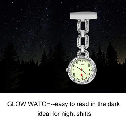 Jhua Nurse Watch Glow Pin-on Brooch Fob Watch for Nurse Quartz Hanging Doctor Pocket Watches (White-Glow Watch) 8