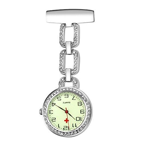 Jhua Nurse Watch Glow Pin-on Brooch Fob Watch for Nurse Quartz Hanging Doctor Pocket Watches (White-Glow Watch) 1