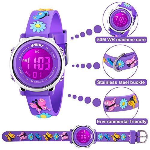Kids Watch for Boys Girls 3D Cute Cartoon Toddler Watch Digital Silicone Band Alarm Stopwatch Digital Child Wristwatch… 3