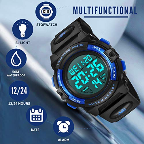 Kids Watches, Boys Digital Outdoors Sport Watch Multifunction Waterproof Digital Watch with LED Light Alarm and Calendar… 3