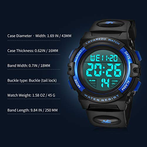 Kids Watches, Boys Digital Outdoors Sport Watch Multifunction Waterproof Digital Watch with LED Light Alarm and Calendar… 6