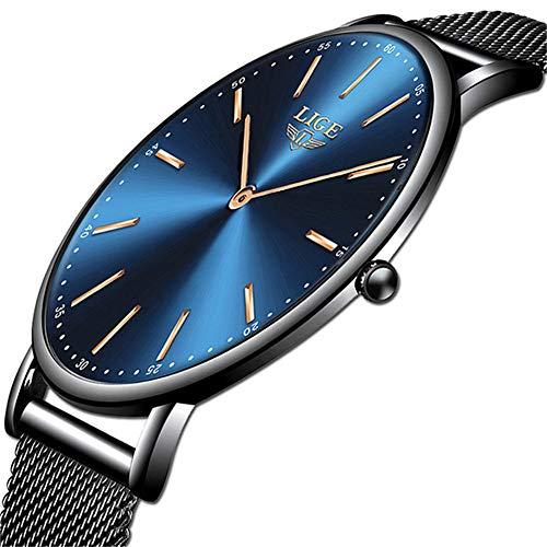 LIGE Mens Watches Black Slim Stainless Steel Watch Fashion Simple Watch for Men Business Dress Analogue Quartz Wrist… 3