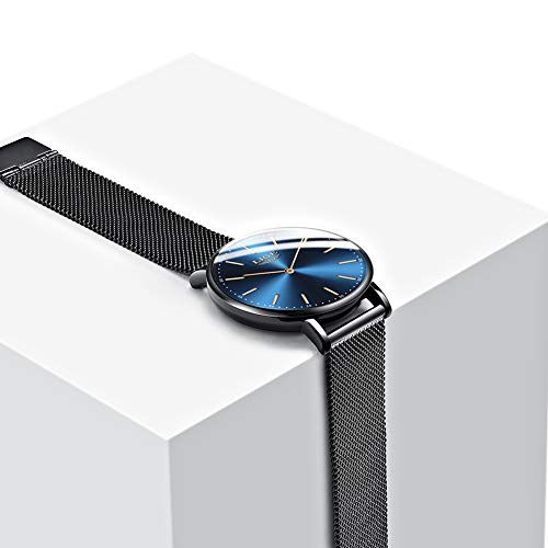 LIGE Mens Watches Black Slim Stainless Steel Watch Fashion Simple Watch for Men Business Dress Analogue Quartz Wrist… 4