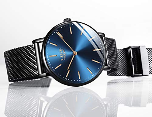 LIGE Mens Watches Black Slim Stainless Steel Watch Fashion Simple Watch for Men Business Dress Analogue Quartz Wrist… 6