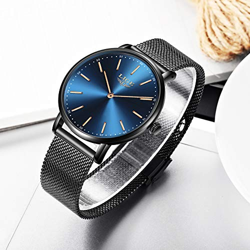 LIGE Mens Watches Black Slim Stainless Steel Watch Fashion Simple Watch for Men Business Dress Analogue Quartz Wrist… 8