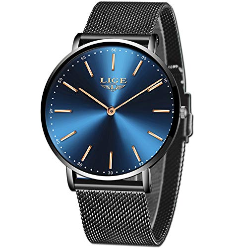 LIGE Mens Watches Black Slim Stainless Steel Watch Fashion Simple Watch for Men Business Dress Analogue Quartz Wrist… 1